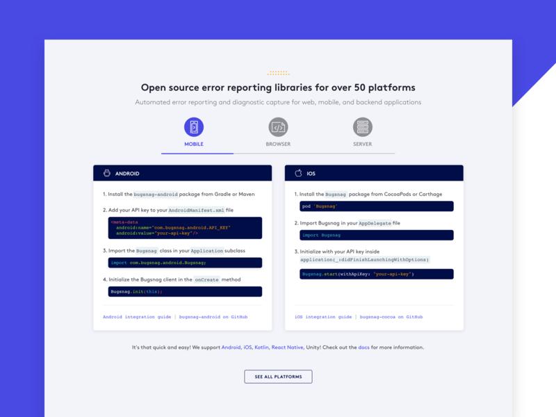 Bugsnag homepage — code snippets code dribbble design illustration