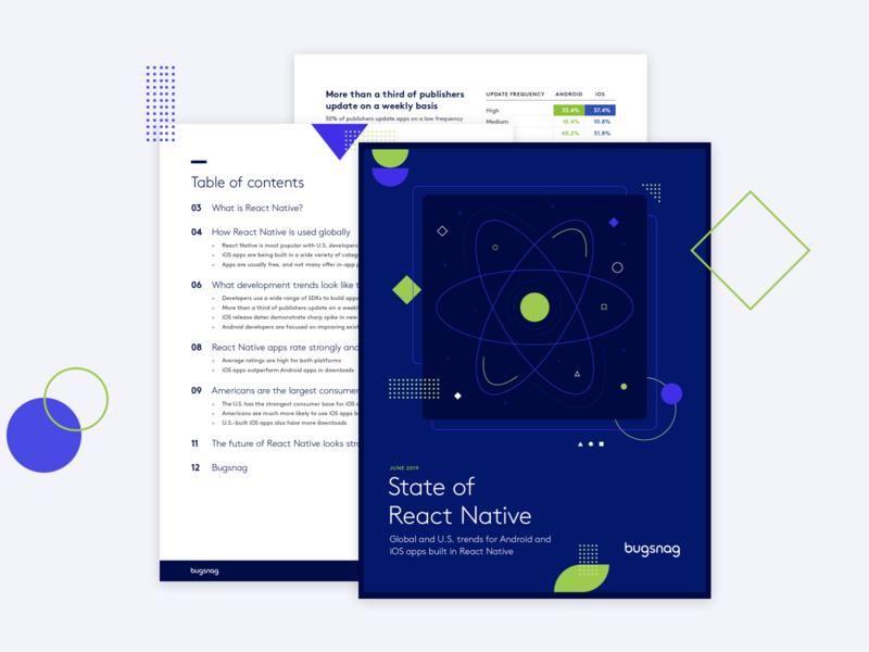 Bugsnag — State of React Native Report shapes react native report design illustration
