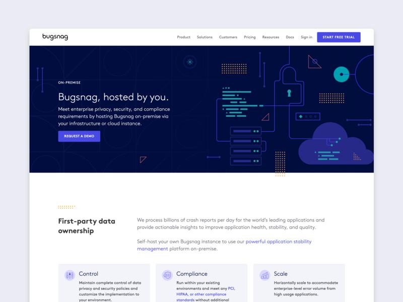 Bugsnag — on-premise page redesign bugsnag cloud shapes security illustration redesign website design premise landing page website