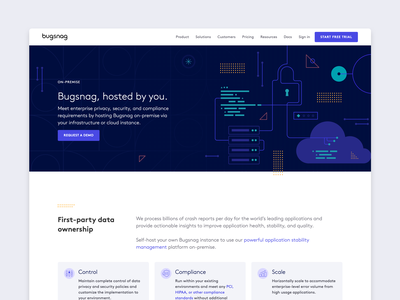 Bugsnag — on-premise page redesign bugsnag cloud shapes security illustration redesign website design premise landing page website