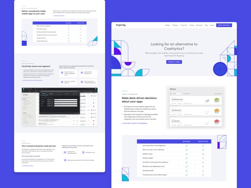 Bugsnag —alternative page illustrations bugsnag shapes website design landing page website