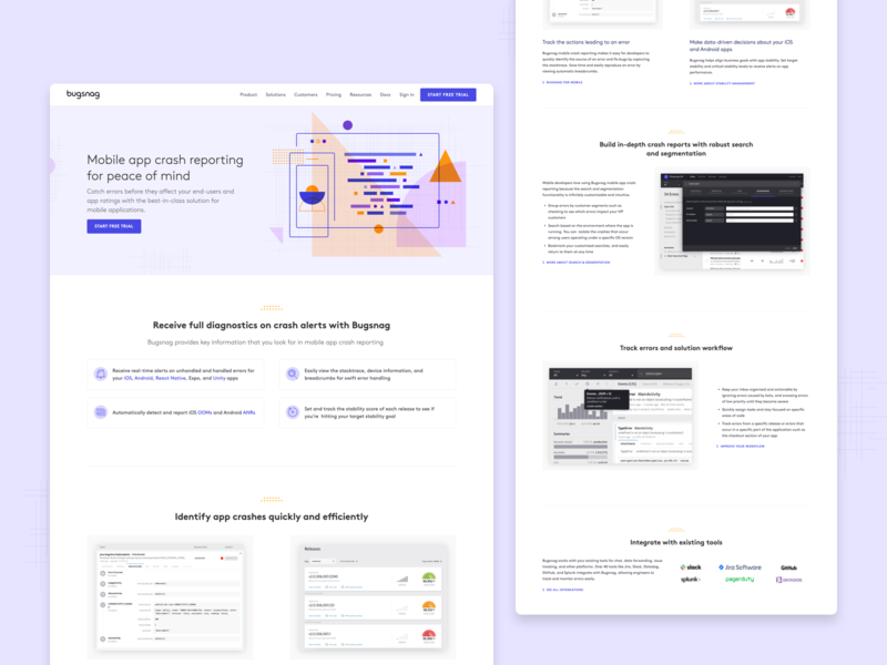 Bugsnag —mobile crash reporting page reporting illustration shapes mobile landing page website design website