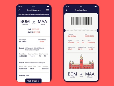 Travel & Boarding Pass Layout userexperience appdesign app ux ui