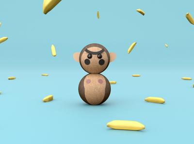 3D Okiagari Gorilla Tentetieso cinema4dart 3dmodel render character animal3d gorilla toy cinema4d cgi c4dart c4d 3drender 3dilustration 3d artist 3d art 3dart 3d animation 3d