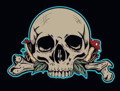 Skull illustration illustrations illustration art illustrator dark bones skull art skull mushroom typography illustration vector design