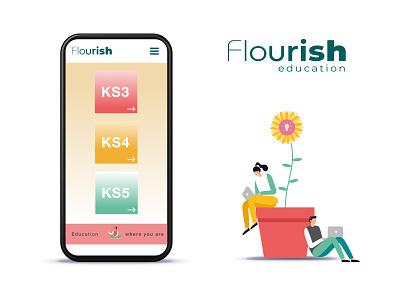 Flourish Education illustrator website icon typography logo branding app web ui illustration