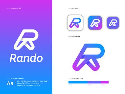 Rando logo design project - R letter logomark brand identity branding type creative modern gradient lettermark
