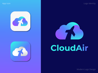 CloudAir Logo Design logodesign store quarantine technology inspiration logo appicon creative graphic design air cloud app letter awesome minimal abstract modern flat brand identity brand