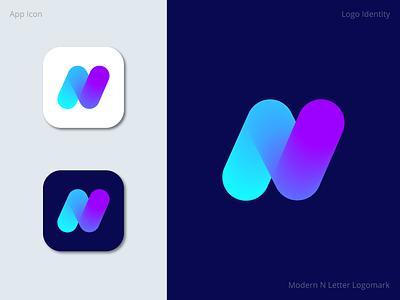 N letter logomark creative app abstract logo graphic design logotype brand identity brand new modern design logomark logo letter n