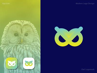 Owl Logomark online inspiration idea attractive lettermark bird icon bird app flat minimalist graphic design abstract logo logotype logomark modern brand identity brand logo owl