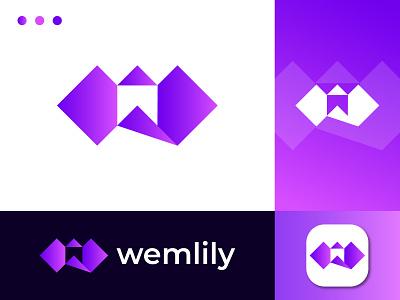 w letter - lily logo illustration w letter r s t u v v x y z logo logotype design flat modern abstract lily flower creative brand identity app
