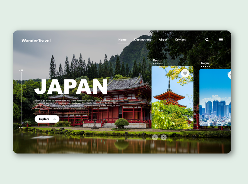 travel landing page japan dailyuichallenge daily ui ui design website design website traveling travel uidesign ux uiux uidailychallenge uidaily ui design