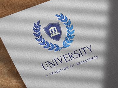 University logo with laurel wreath   Turbologo university logo university laurel wreath brand brand design branding logo design logo
