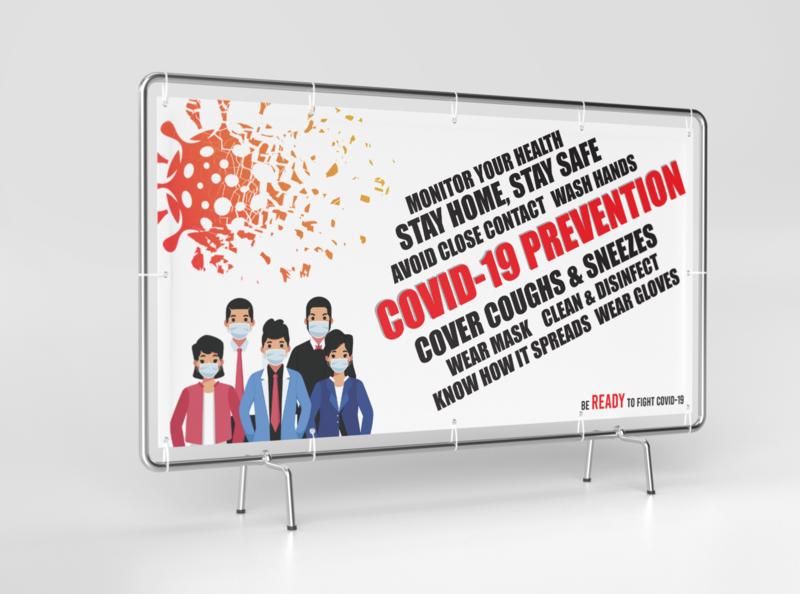 Covid-19 design typography concept banner banner design awareness covid-19 coronavirus