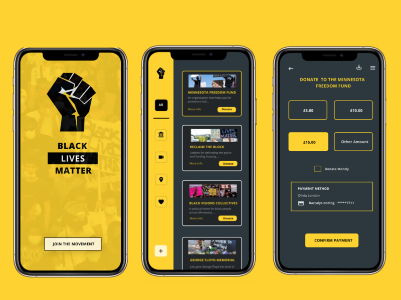 Black Lives Matter App equality donation app design ui