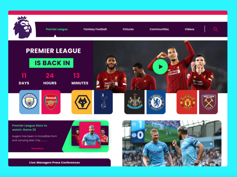 Premier League Website landing page football soccer sports premier league ui dribbble userinterface website design