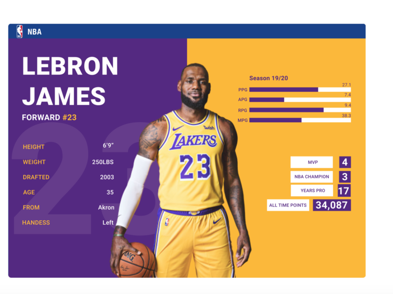NBA Player website stats colours visual design nba website ui