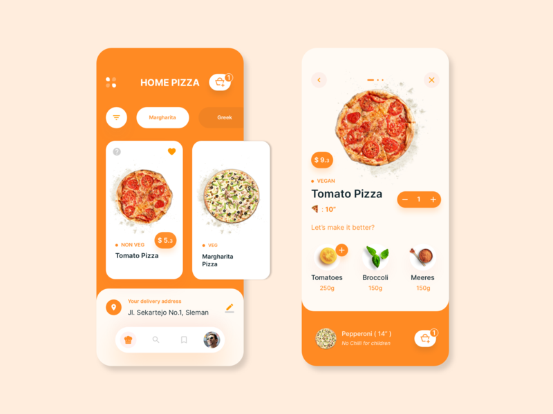 Pizza home delivery mobile app concept | 1 profile cartoon home food delivery redesign restaurant pizza covid corona branding uiux design card app design app ui ux concept clean