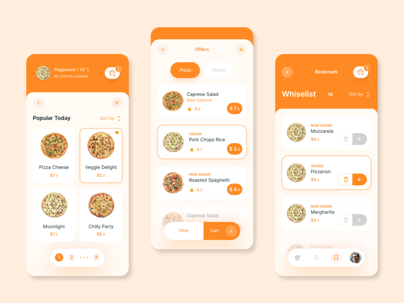 Pizza home delivery mobile app concept | 2 filter pagination wishlist pizza menu cart offers delivery service delivery food resturant pizza design illustration card app design app ux ui concept clean