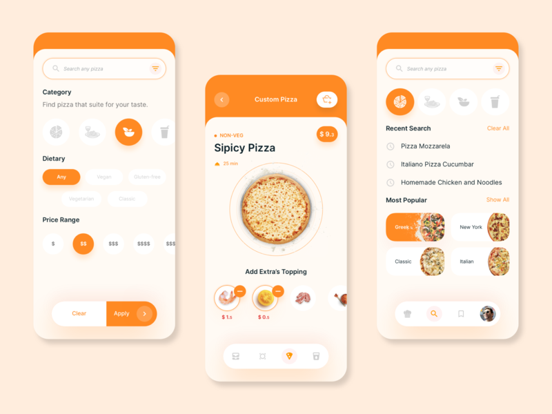 Pizza home delivery mobile app concept | 2 search screen search menu pizza menu cart delivery app delivery food restaurant pizza designer uiux design card app design ui app ux concept clean