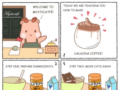 Welcome to the Mysticatfe! Today is about Dalgona coffee! 漫画 猫 咖啡店 咖啡 webcomic chibi cartoon comics cute artwork drawing art cats cat dalgona coffee dalgonacoffee cafe coffee
