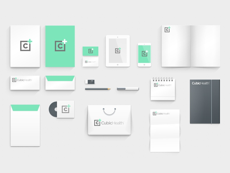 Cubic Health Stationary branding logo type font typface icon fitness cubic health stationary stationary mock up