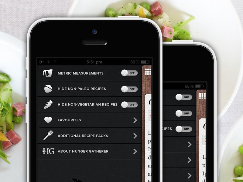 Settings Nav food app iphone food app settings ui menu texture paper share social design