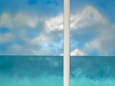 """Diptych: Distant Sea"" (2020), Spray Paint on Canvas, 24″ x 36″"