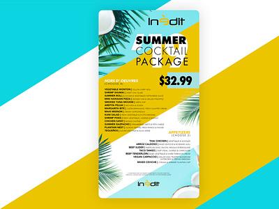 Inedit Gourmet Newsletter menu design menu mailing cocktail palms coconut summertime summer newsletter