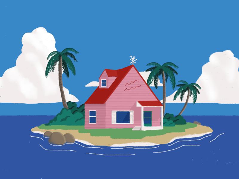 KAME HOUSE dragonball dragonballz tropical island architecture flat illustration