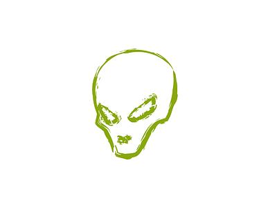 Grungy Little Alien rough character icon logo creepy alien grunge