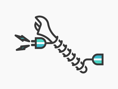 ⚡ tools tool electricity power cord wrench icon minimalistic minimal gradient illustration electrician