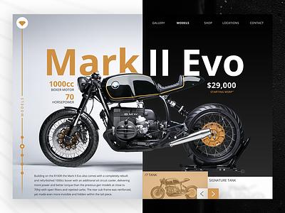 Mark II Evo - UI Concept model landing clean product design system page inspiration motor web ui pattern site website fyresite concept uidesign ux bmw motorcycle design ui