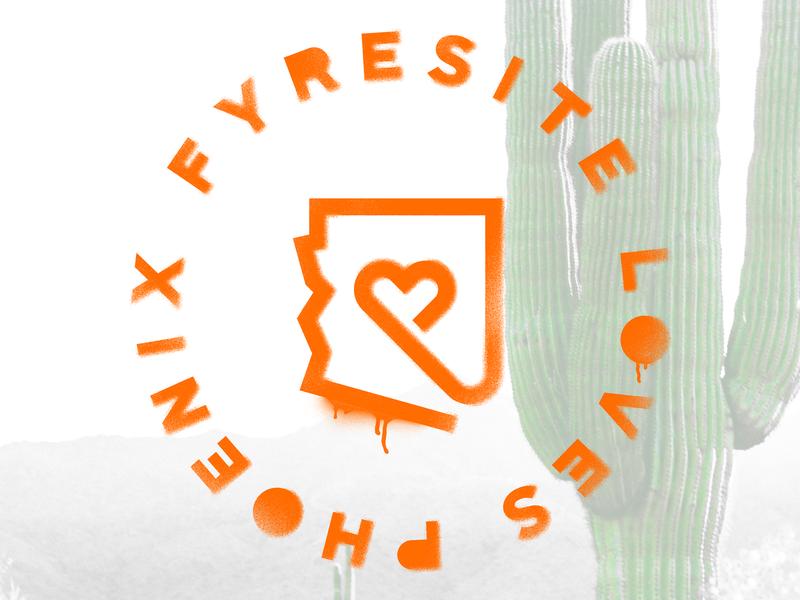 Fyresite Loves Phoenix loves love heart arizona stencil paint phoenix icon badge logo badge illustration branding illustrator fyresite