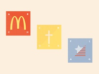 Gathering Places icon fast food dot grid geometric layout logo design typography vector bright bold america church logo clean illustration pastels pastel flat