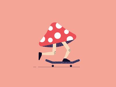 Funguy gritty texture wheel mushrooms legs skateboard skate nature dots clean fungi mushroom vector bold flat