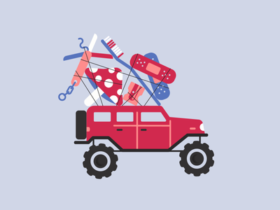 Vectober / 15 / Outpost vectober2020 vectober minimal survivor truck vehicle survival kit tied up self care offroad jeep soldiers troops survive survival military vector bold flat