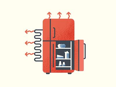 Thermodynamics refrigeration science thermodynamics thermo grain texture texture gritty kitchen milk food physics heat exchange outline gradient refrigerator fridge vector bold flat