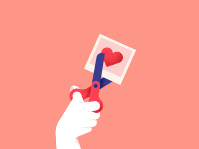 Cut It Out hand valentinesday bold illustration hearts cynic heartbroken heartbreak remove it cut out scissors textured ex exes valentine heart textures texture vector flat