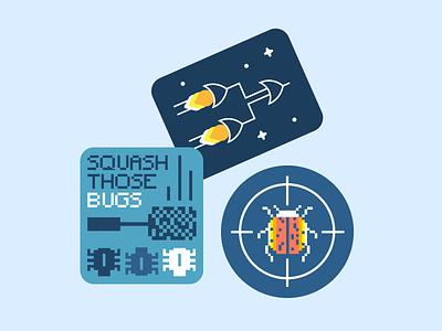 Stickers pixel art pixel bugs engineering coder developer code dev coding space space ship sticker illustration bold vector flat