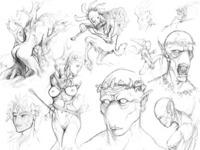 Daphne, Toothfairy, and Kokopelli sketches