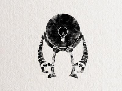 Robot #1 robot stamp black white light bulb texture mechanical computer