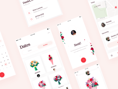 Romantic dating app - overview clean minimal cards card ios mobile app application ux illustration dating date