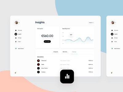 Web Banking app - Insights navigation design graph dashboard experience landing landing page ui interactive clean minimal ux website webapps webapp app web cards card system