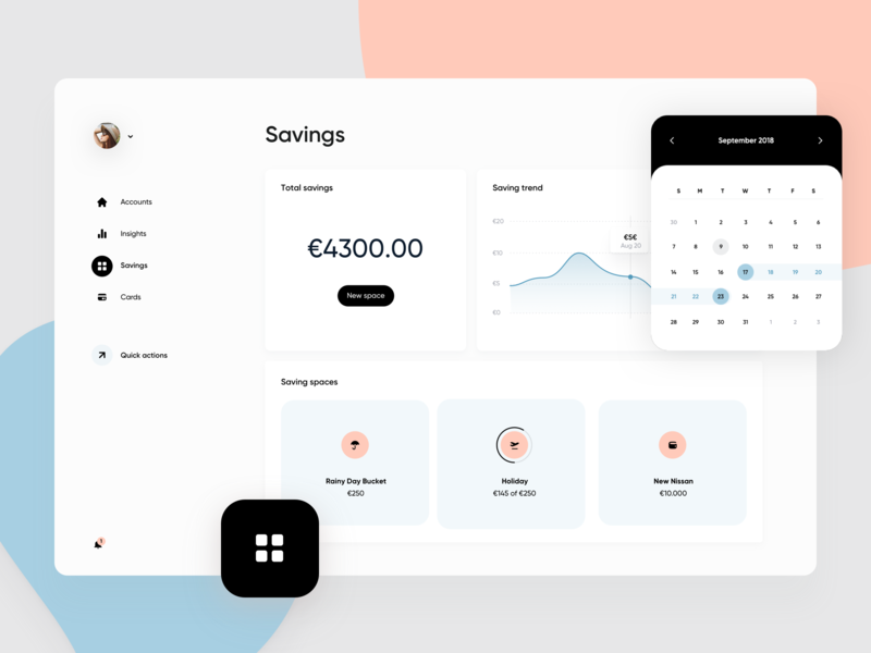 Web Banking app - Savings calendar graph dashboard design dashboard app dashboard web application web app design application design experience ui typography minimal clean ux website app web app web  design web