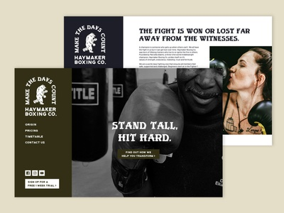 Haymaker Boxing Co. Website ui website design minimal illustrator branding logo illustration design