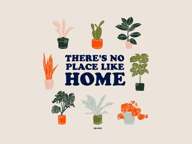 No Place Like Home - Illustration plants covid19 poster design plant illustration covid illustration design