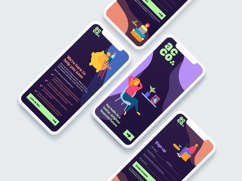 Acco - Financial Management App Design money app financial app app designers australia app design bright fresh illustrator illustration design mobile design mobile application app design icon ui web ios guide mobile app design mobile app mobile ui