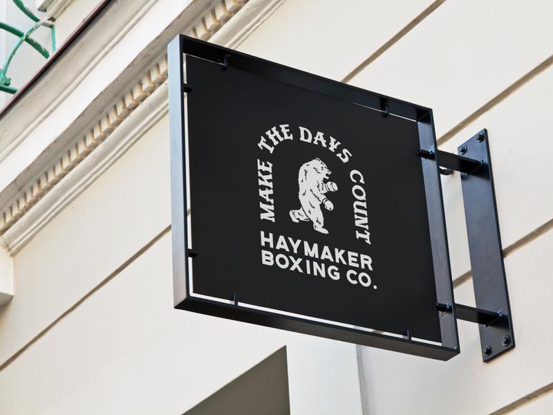 Haymaker Boxing Co. Signage signage badge design boxing branding branding illustration design
