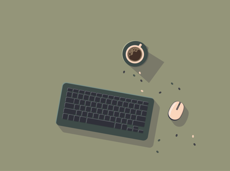Coffee time minimal flat web vector design illustration
